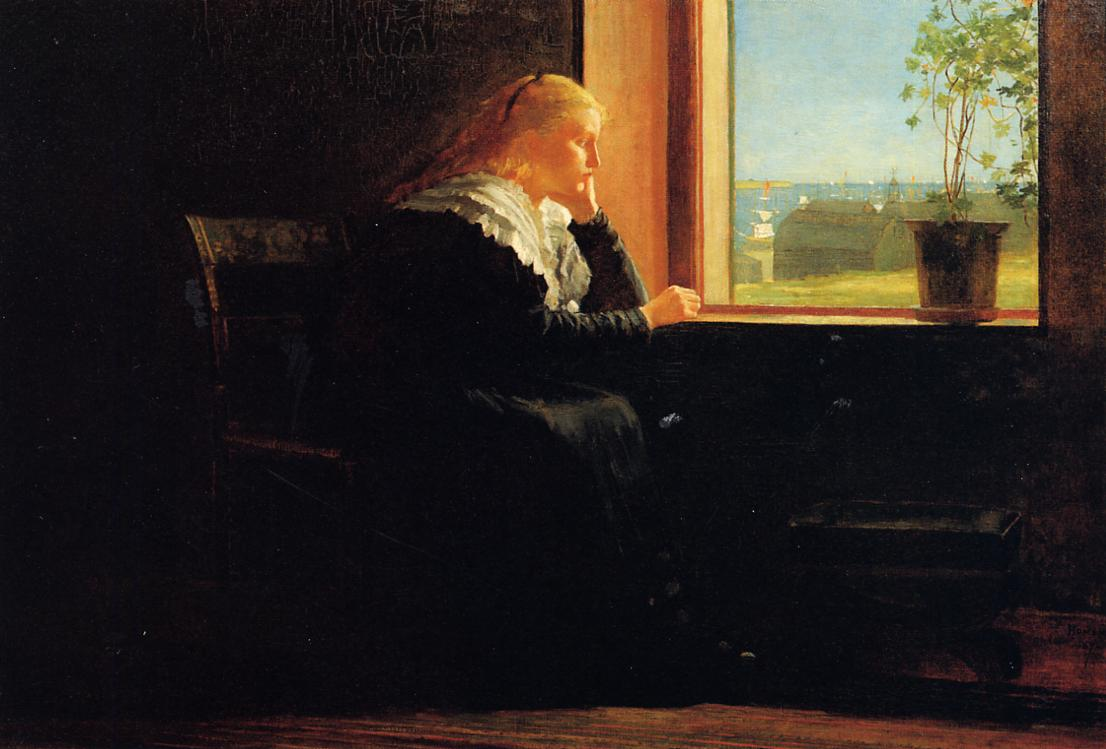 Looking out to Sea (aka Female Figure in Black near a Window) 1872 | Homer Winslow | Oil Painting