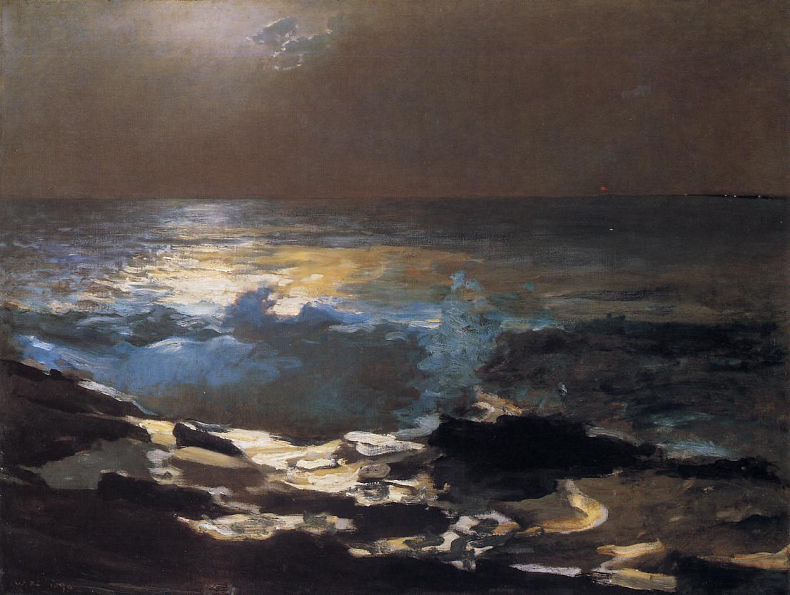 Moonlight Wood Island Light 1894 | Homer Winslow | Oil Painting