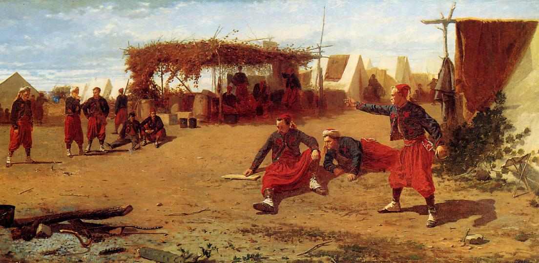 Pitching Quoits (aka Pitching Horseshoes or Quoit Players) 1865 | Homer Winslow | Oil Painting