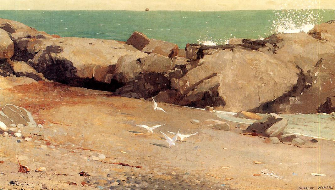 Rocky Coast and Gulls 1869 | Homer Winslow | Oil Painting