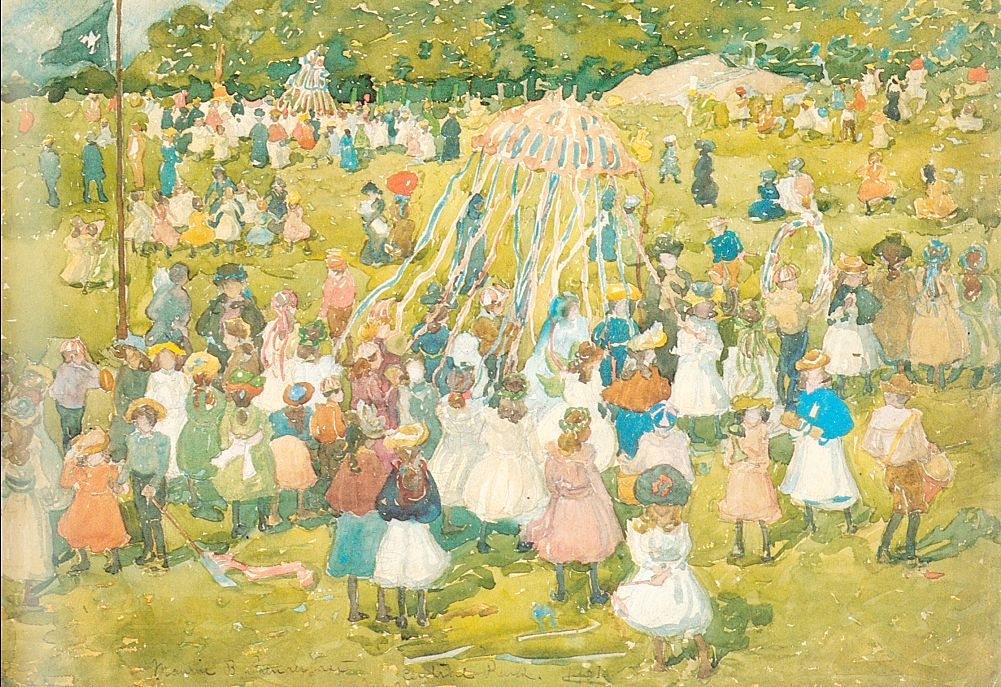 May Day Central Park | Maurice B Prendergast | Oil Painting