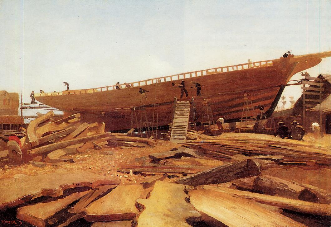 Shipbuilding at Gloucester 1871 | Homer Winslow | Oil Painting