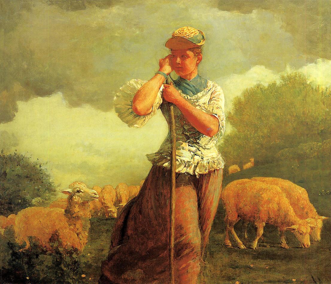 The Shepherdess (aka The Shepherdess of Houghton Farm) 1879 | Homer Winslow | Oil Painting