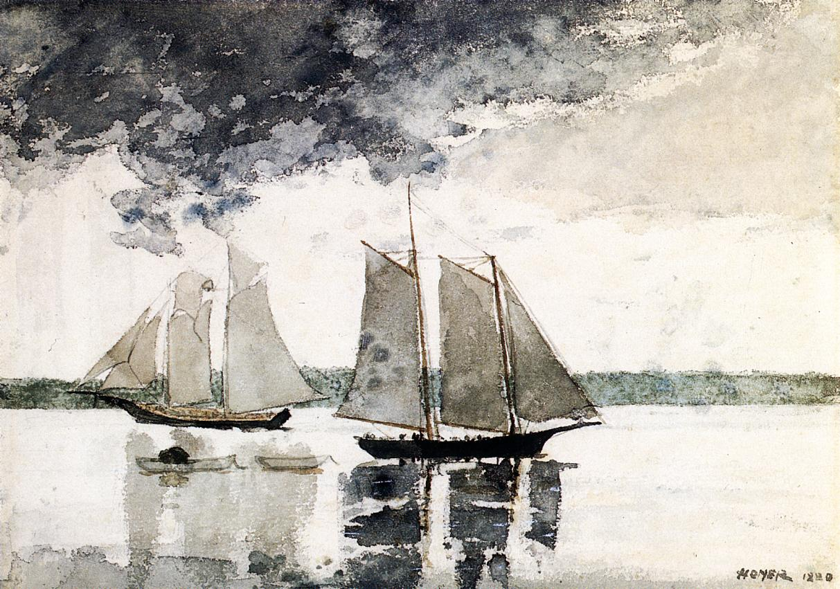Two Schooners (aka Two Sailboats) 1880 | Homer Winslow | Oil Painting