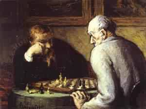Chess Players 1863-1867 | Honore Daumier | Oil Painting