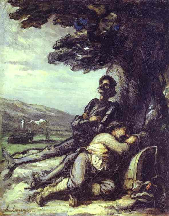 Don Quixote And Sancho Pansa Having A Rest Under A Tree 1855 | Honore Daumier | Oil Painting