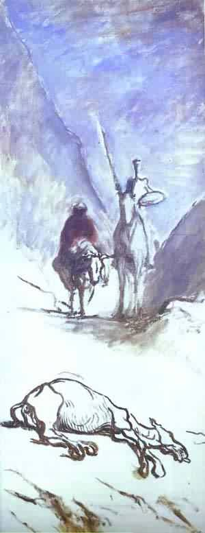 Don Quixote Sancho Pansa And The Dead Mule | Honore Daumier | Oil Painting
