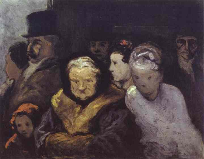 Exit From The Theatre 1863-65 | Honore Daumier | Oil Painting