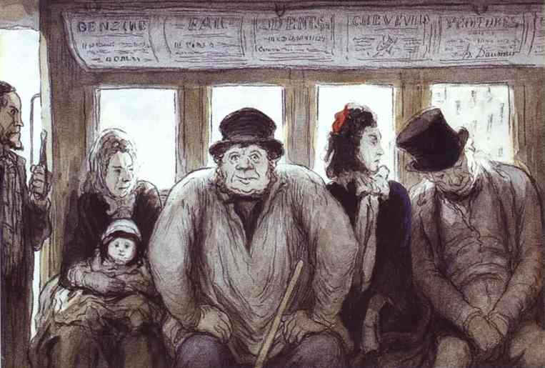 In The Omnibus 1864 | Honore Daumier | Oil Painting