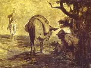 Sancho Pansa Going For A Call Of Nature 1855 | Honore Daumier | Oil Painting