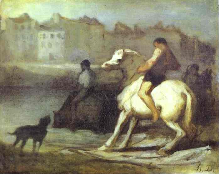The Horses Drink 1655-60 | Honore Daumier | Oil Painting