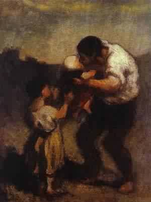 The Kiss 1645-48 | Honore Daumier | Oil Painting