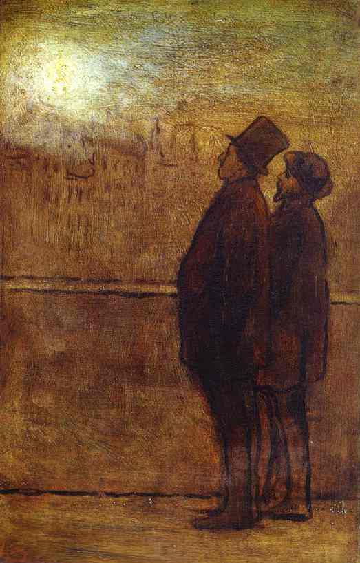 The Nocturnal Travellers 1842-47 | Honore Daumier | Oil Painting