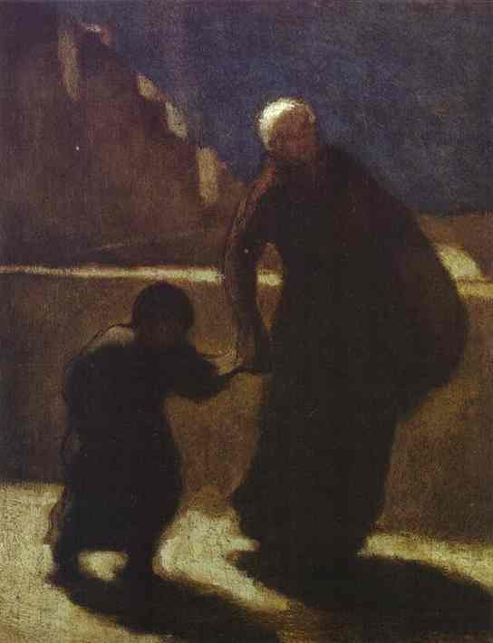Woman And Child On A Bridge 1845-48 | Honore Daumier | Oil Painting