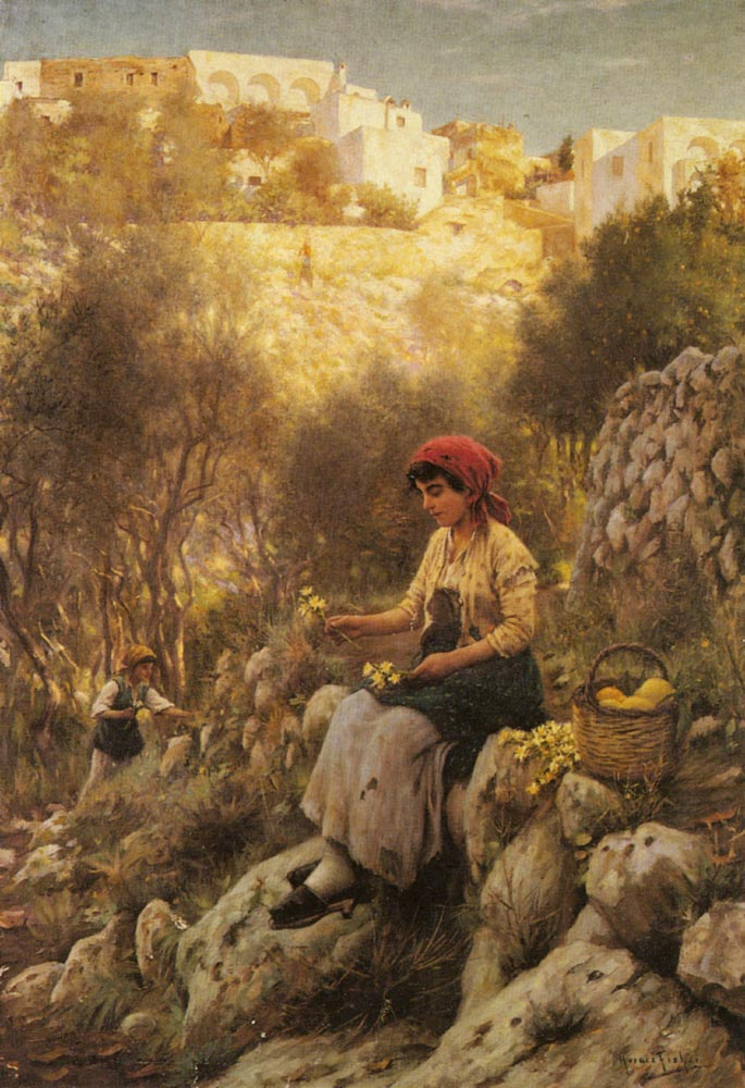 Young Girls Picking Flowers | Horace Fisher | Oil Painting