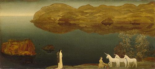 Unicorns (Legend  Sea Calm) ca 1906 | Arthur B Davies | Oil Painting