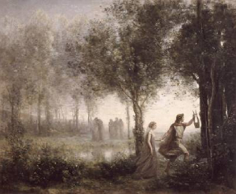 Orpheus Leading Eurydice from the Underworld 1861 | Camille Corot | Oil Painting