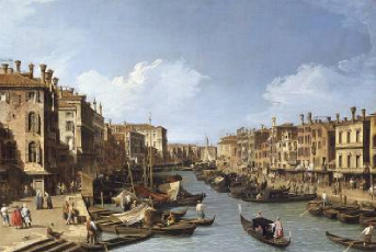 The Grand Canal near the Rialto Bridge Venice 1730 | Canaletto | Oil Painting