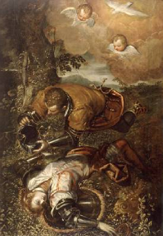 Tancred Baptizing Clorinda 1586 1600 | Domenico Tintoretto | Oil Painting