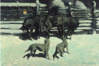 The Call for Help (At Bay) 1908 | Frederic S Remington | Oil Painting