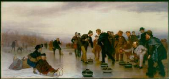 Curling a Scottish Game at Central Park 1862   John George Brown   Oil Painting