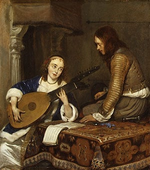A Woman Playing the Theorbo Lute and a Cavalier ca 1658 | Gerard ter Borch | Oil Painting