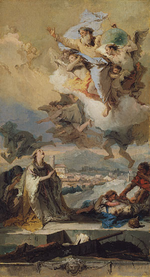 Saint Thecla Praying for the Plague Stricken sketch 1758 | Giovanni Battista Tiepolo | Oil Painting
