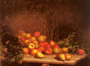 An Overturned Basket Of Fruit And Vegatables | Hubert Bellis | Oil Painting