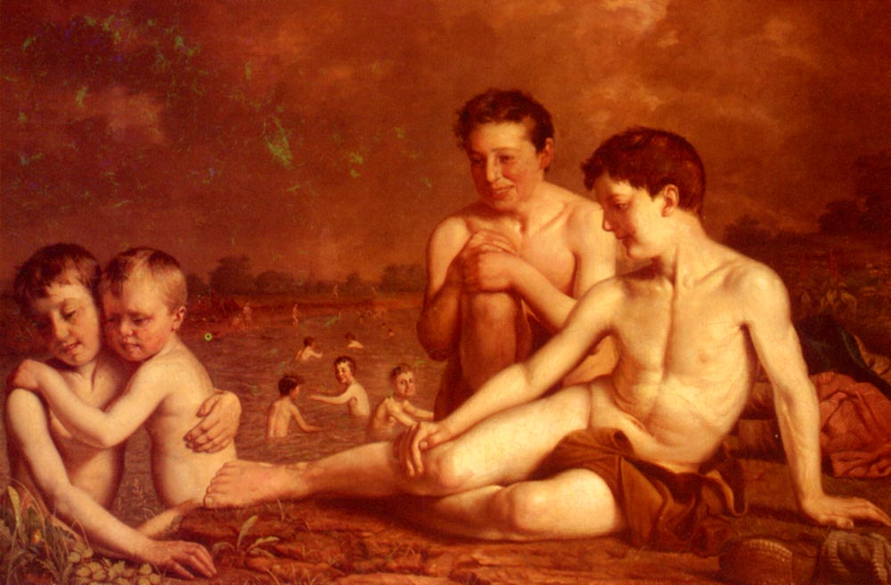 Young Boys Bathing | Hugh Collins | Oil Painting