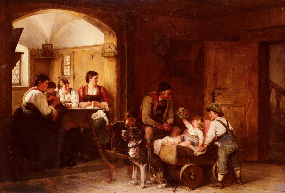 Familienszene | Hugo Engl | Oil Painting