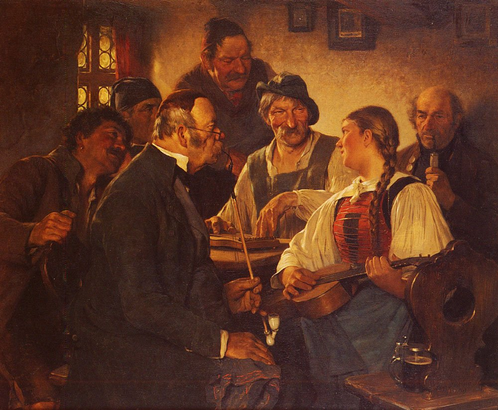 The Zither Player | Hugo Kauffmann | Oil Painting