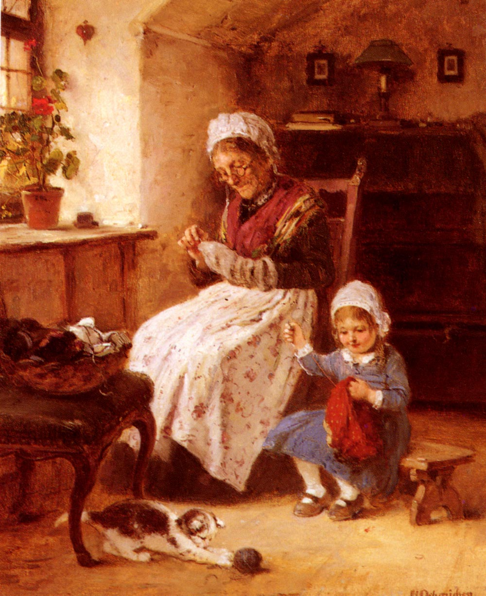 The Sewing Lesson | Hugo Oehmichen | Oil Painting