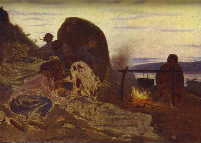 Barge Haulers By Campfire 1870 | Ilya Repin | Oil Painting
