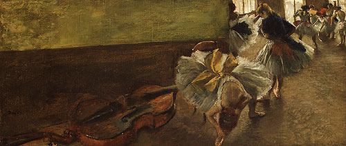 Dancers in the Rehearsal Room with a Double Bass | Edgar Degas | Oil Painting