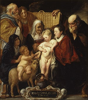 The Holy Family with Saint Anne and the Young Baptist and His Parents | Jacob Jordaens | Oil Painting
