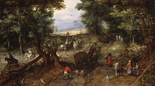 A Woodland Road with Travelers 1607 | Jan Brueghel the Elder | Oil Painting