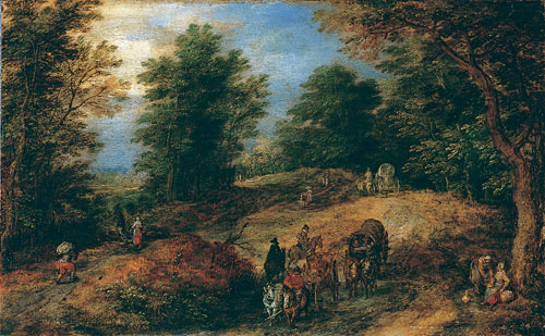 Landscape with Travelers on a Woodland Path ca 1607 | Jan Brueghel the Elder | Oil Painting