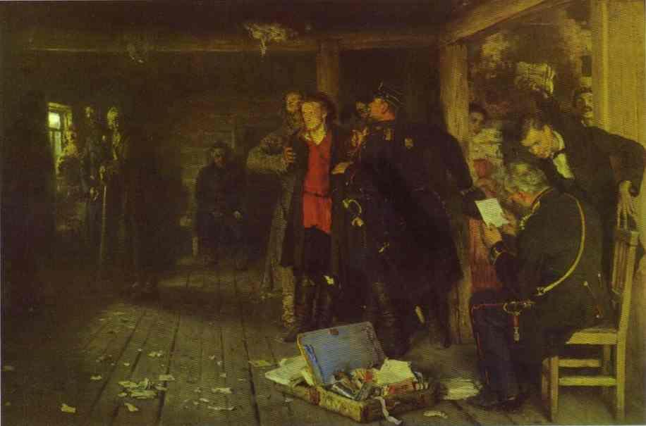 Putting A Propagandist Under Arrest 1880-1892 | Ilya Repin | Oil Painting