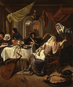 The Dissolute Household ca 1665 | Jan Havicksz Steen | Oil Painting