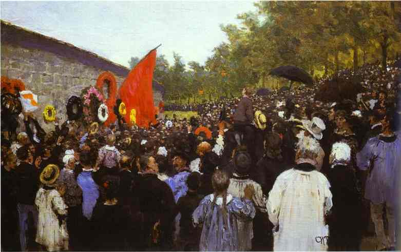 The Annual Memorial Meeting Near The Wall Of The Communards In The Cemetery Of Pere Lachaise In Paris 1883 | Ilya Repin | Oil Painting