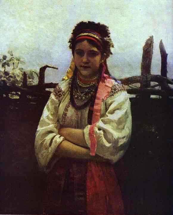 Ukranian Girl By A Fence 1876 | Ilya Repin | Oil Painting