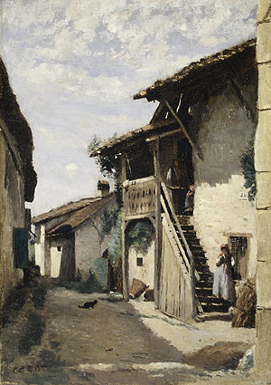 A Village Street Dardagny 1852 | Jean Baptiste Camille Corot | Oil Painting