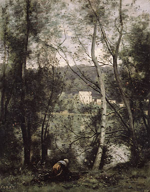 A Woman Gathering Faggots at Ville dAvray ca 1871 | Jean Baptiste Camille Corot | Oil Painting