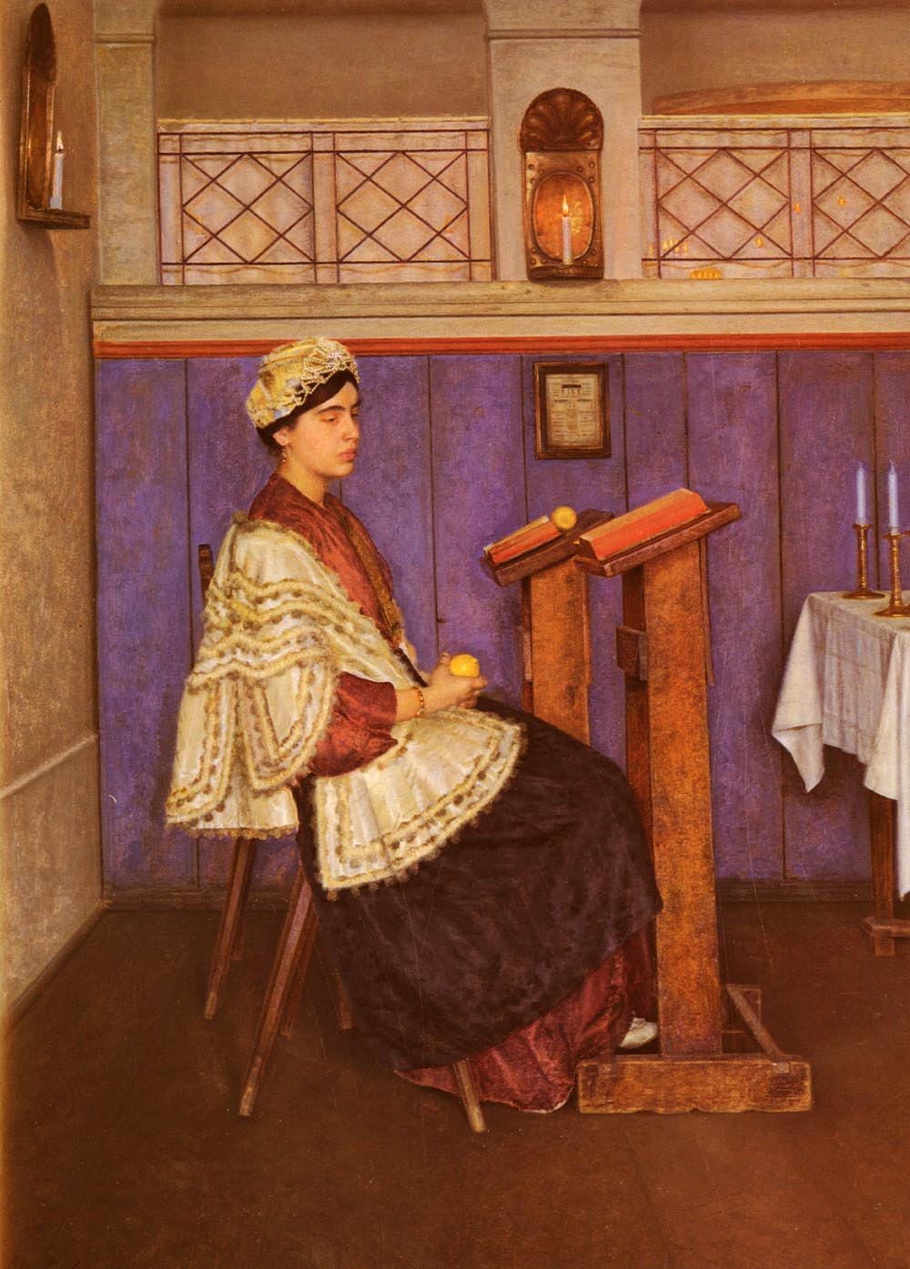 Young Woman in the Synagogue | Isidor Kauffman | Oil Painting
