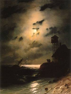Moonlit Seascape With Shipwreck | Ivan Aivazovsky | Oil Painting