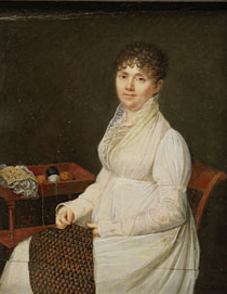 Portrait of a Woman with Tapestry Work | Jean Baptiste Jacques Augustin | Oil Painting