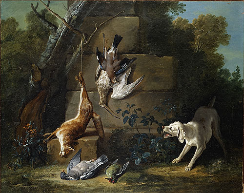 Dog Guarding Dead Game 1753 | Jean Baptiste Oudry | Oil Painting