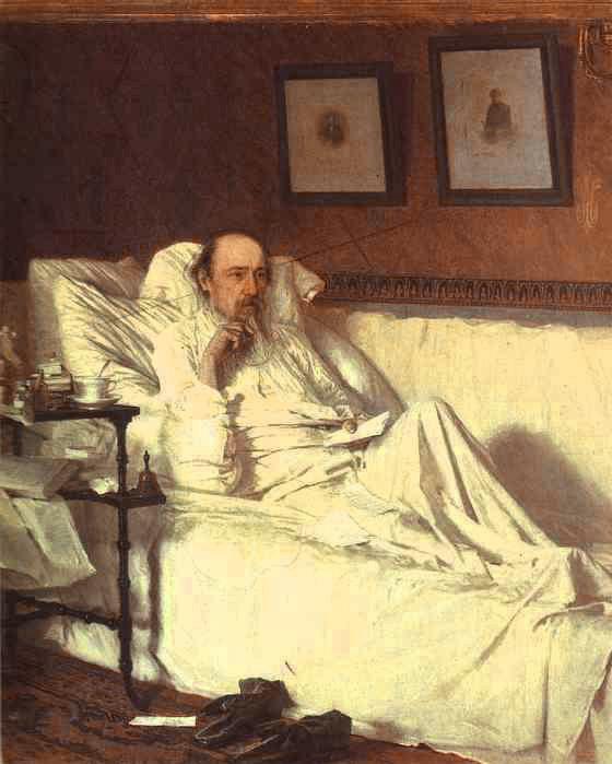 Nikolay Nekrasov in the Period of Last Songs | Ivan Nikolaevich Kramskoy | Oil Painting