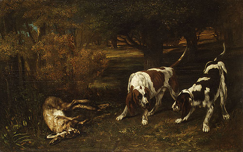 Hunting Dogs with Dead Hare 1857   Jean Dir Gustave Courbet   Oil Painting