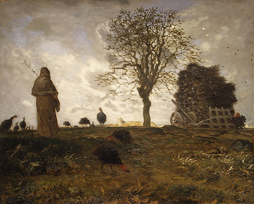 Autumn Landscape with a Flock of Turkeys ca 1873 | Jean Francois Millet | Oil Painting